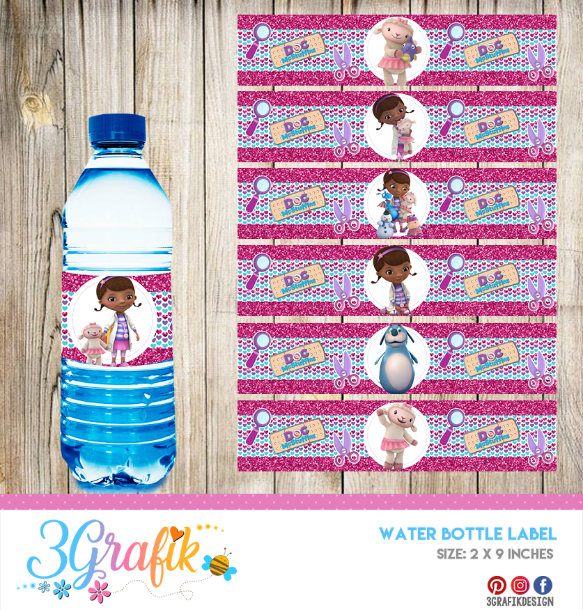 picture relating to Doc Mcstuffins Printable Labels titled Document McStuffins Drinking water Bottle Label Printable
