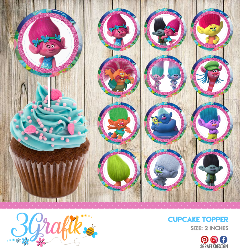 picture about Pokemon Cupcake Toppers Printable identified as Trolls Cupcake Topper Printable