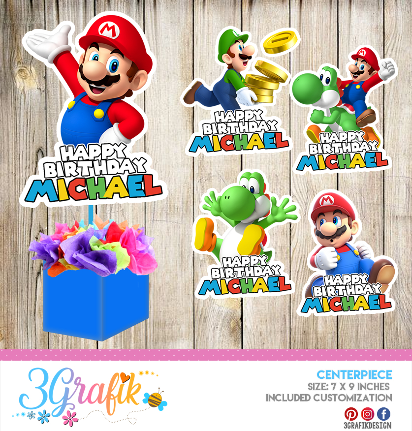 Super Mario Bros Centerpiece Edit Download And Print Party