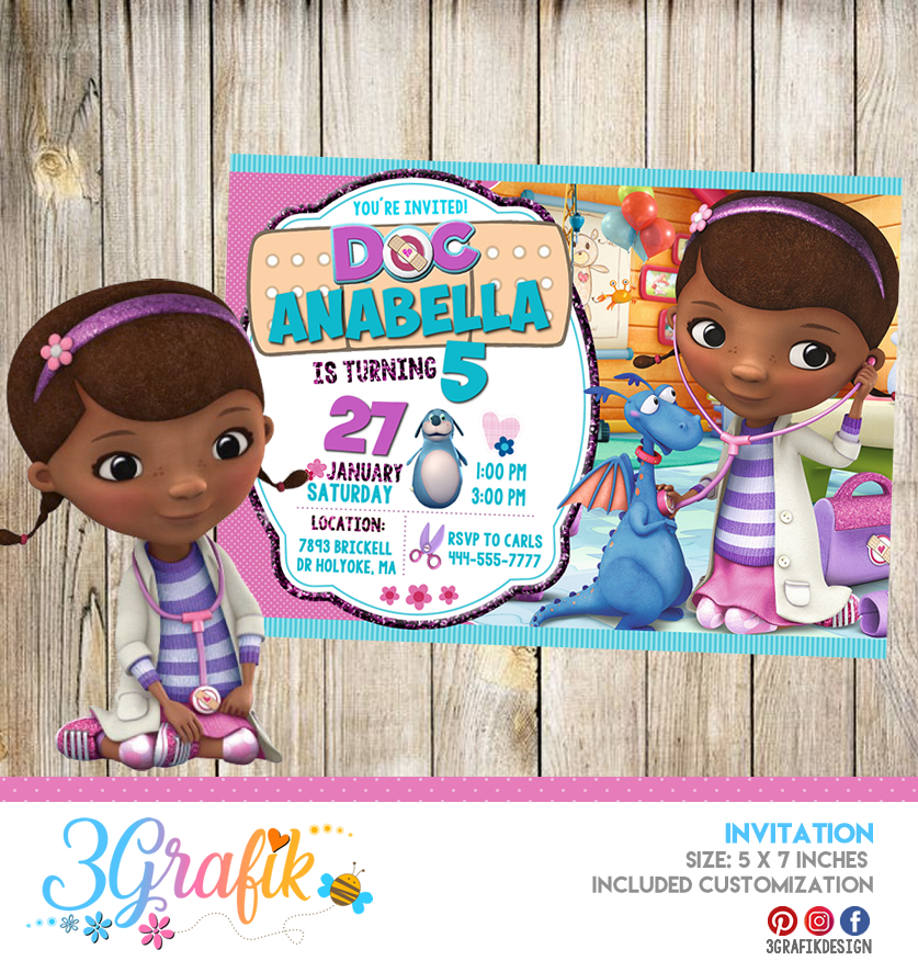 photograph relating to Doc Mcstuffins Printable Invitations titled Document McStuffins Invitation Printable