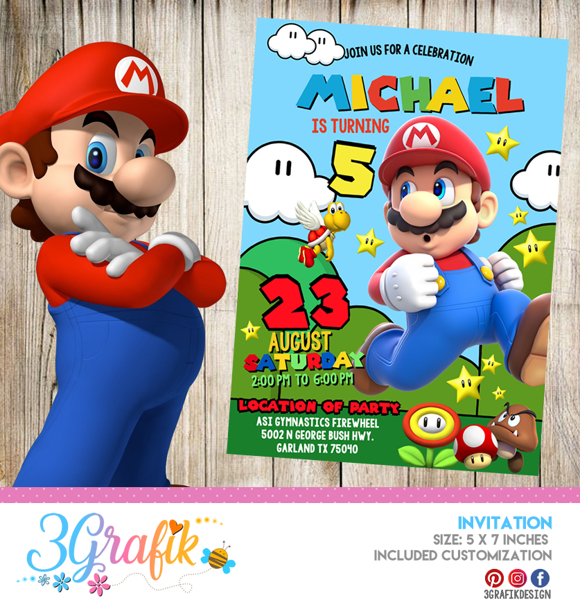 Super Mario Bros Invitation Online Editable Template Party