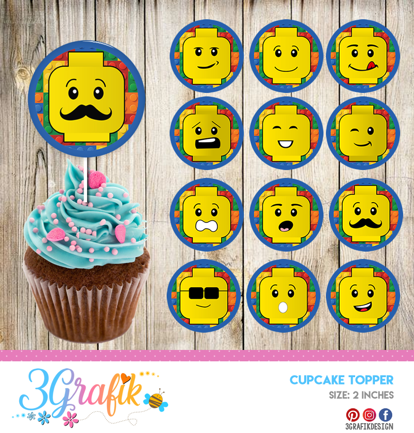 photograph regarding Pokemon Cupcake Toppers Printable identified as Lego Cupcakes Topper Printable