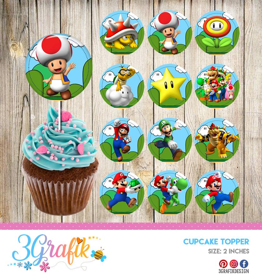 Super Mario Bros Cupcakes Topper Printable 3grafik