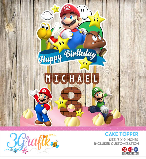Super Mario Bros Cake Topper Printable Party Supplies