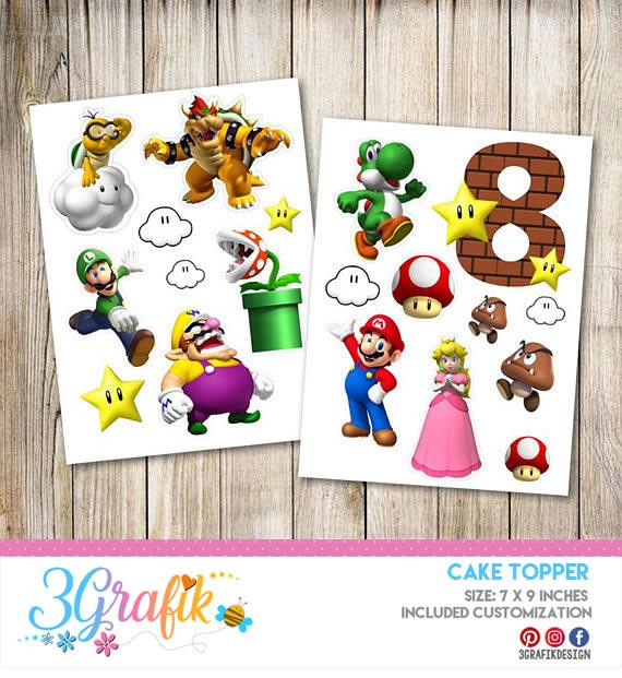 Super Mario Bros Cake Topper Printable Party Supplies