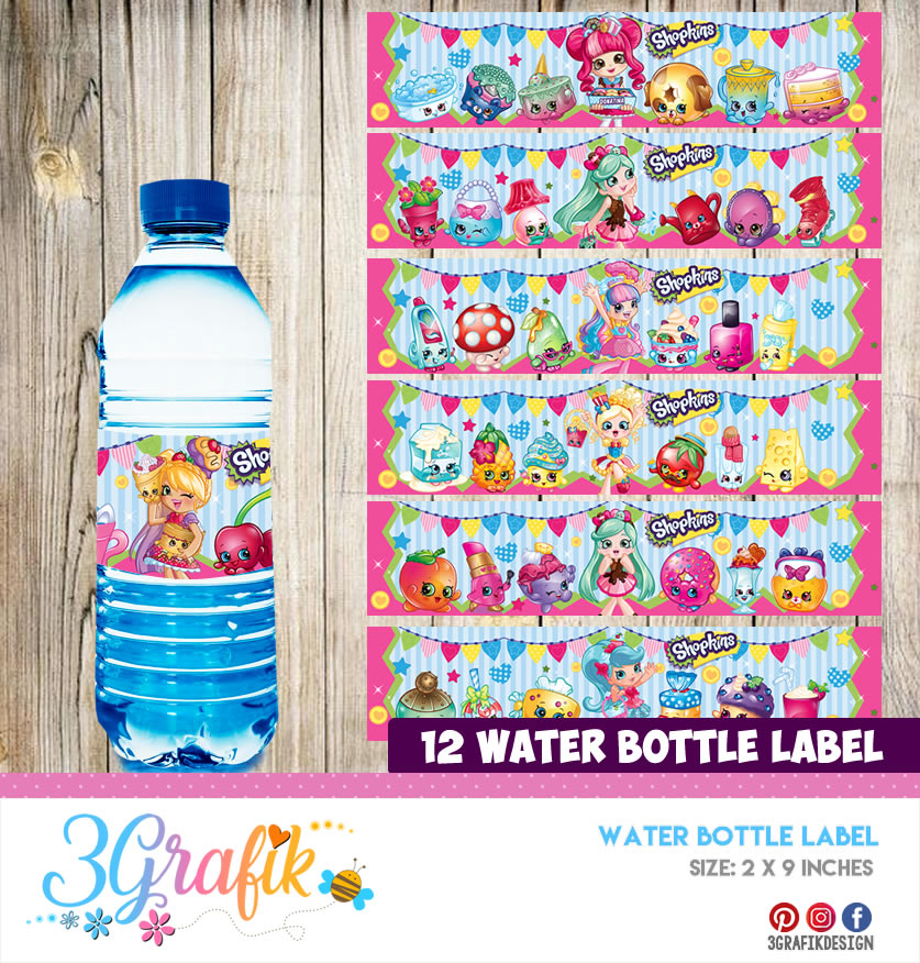 photo about Free Printable Shopkins Food Labels titled Shopkins Drinking water Bottle Label Printable