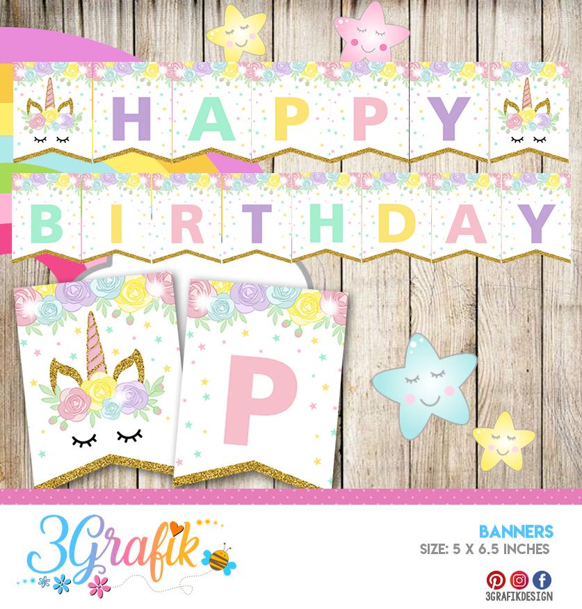 Unicorn Happy Birthday Banners And Garlands Printable 3grafik