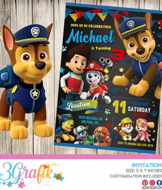 photograph regarding Printable Paw Patrol Invitations called Paw Patrol Invitation Archives - 3Grafik Printable