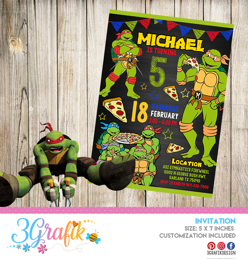 picture relating to Printable Ninja Turtle Invitations referred to as Ninja Turtles Invitation Printable