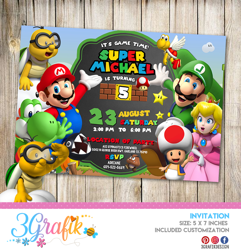 Super Mario Bros Invitation Online Editable Template Party Supplies