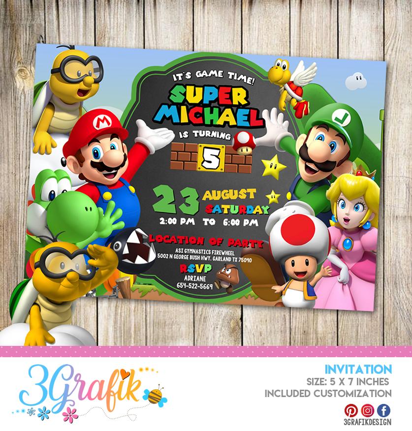 Super Mario Bros Invitation Online Editable Template Party Supplies