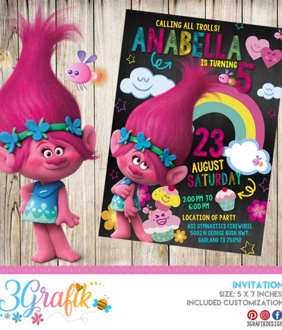 photo relating to Printable Trolls Invitations named Trolls birthday Archives - Site 3 of 7 - 3Grafik Printable