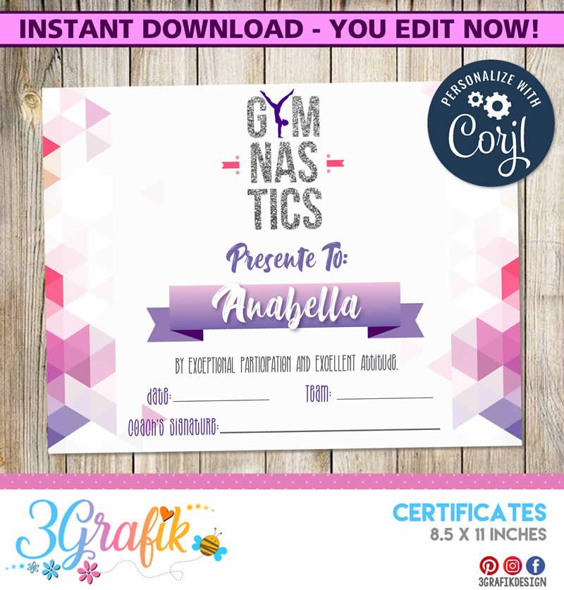 gymnastics certificate template printable templates award editable 3grafik blank certificates printables birth champion