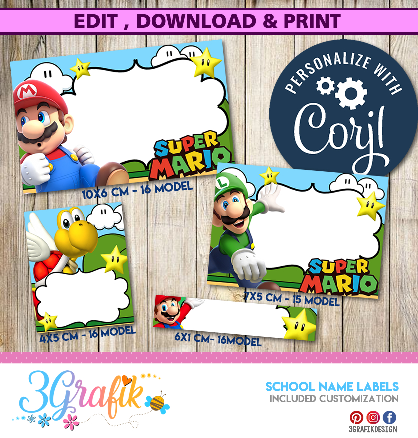 Super Mario Bros Name Labels For Books Supplies Printable