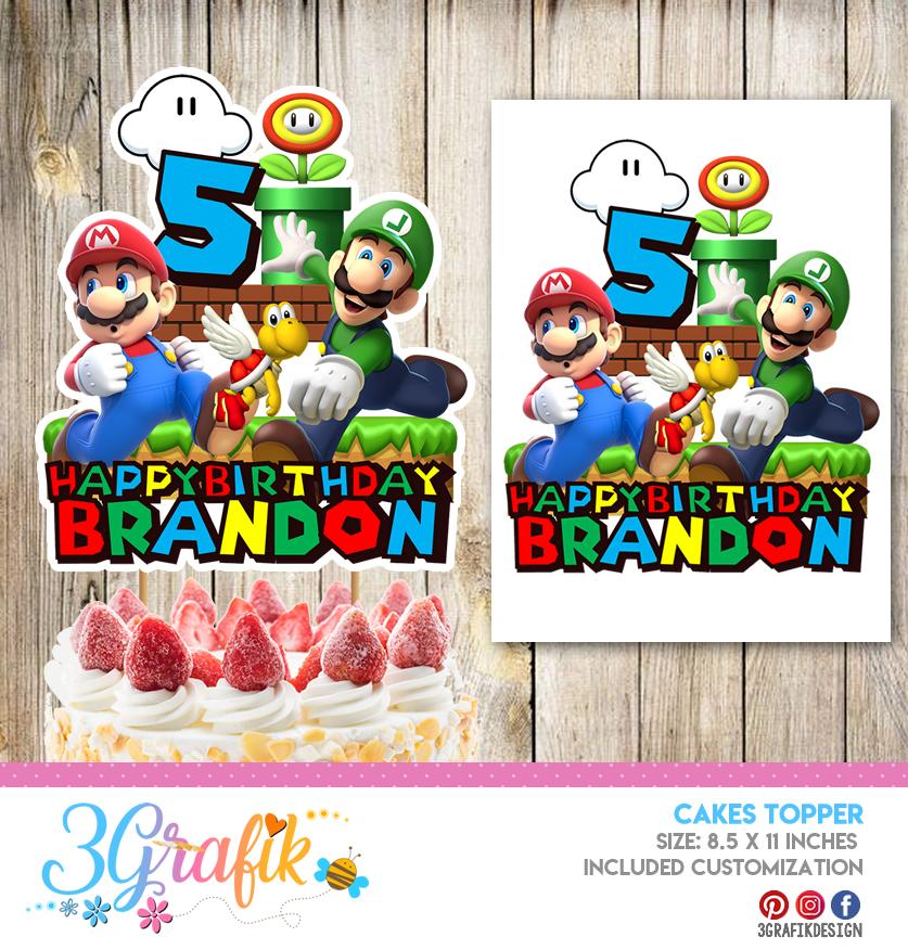 Mario Bros Cake Topper Template Banderin Mario Bros Mario Bros