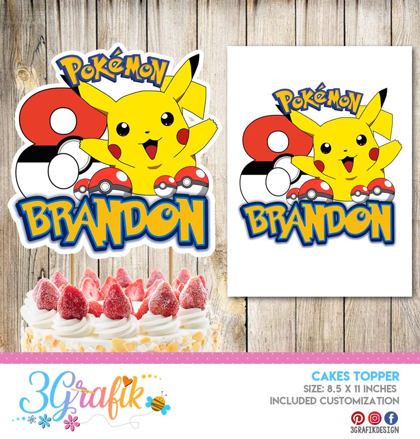 Tremendous Pokemon Cake Topper Banderin Pokemon Pokemon Birthday Funny Birthday Cards Online Eattedamsfinfo