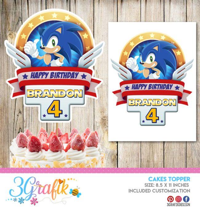Sonic Cake Topper Banderin Sonic Sonic Birthday